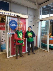 Nick & Paul get a brief rest from handing out leaflets to shoppers entering a store