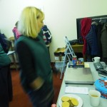 Foodbank volunteer with the scales provided by the club