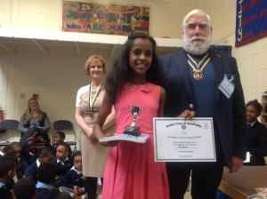 Keystage Two Winner Saba Medhane aged 11, with President Iain